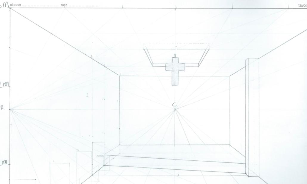 Skizze Gebetsraum mit Kreuz